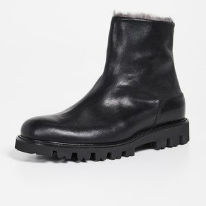 Vince Counter Leather & Shearling Ankle Boots